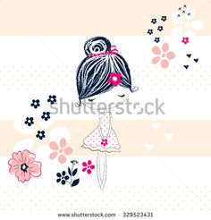 cute girl with flowers, T-shirt design, fashion for girls vector illustration