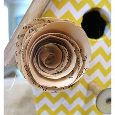 DIY Decorative Birdhouse With Vintage Book Pages and Scrapbook Paper