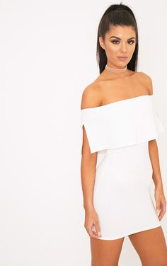 Carley White Bardot Frill Bodycon Dress