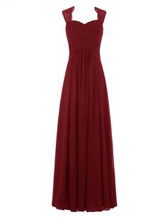 Tideclothes Chiffon Bridesmaid Dress Long Lace Prom Dress Evening Dress Burgundy US6