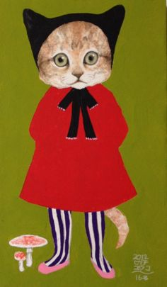 Cat in a frock {illustration: Yuko Higuchi} I Love Cats, Crazy Cats, Cool Cats, Gatos Cats, Fairytale Art, Animal Heads, Here Kitty Kitty, Cat Drawing, Japanese Art
