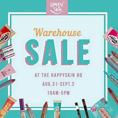Check out the first-ever HAPPY SKIN WAREHOUSE SALE!  Shop for award-winning, skin-friendly, and easy-to-use makeup products on SALE that will make you skin and wallet happy!  Head over to Happy Skin HQ located at San Antonio, Pasig on August 31 - September 2, 2016 from 10am to 5pm to snag your goodies!  For more promo deals, VISIT http://mypromo.com.ph! SUBSCRIPTION IS FREE! Please SHARE MyPromo Online Page to your friends to enjoy promo deals!