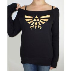 Legend of Zelda Golden Hyrule Crest Slouch Jumper for Gamer Girls ($38) via Polyvore featuring tops, shirts, sweaters, black, sweatshirts, women's clothing, long loose shirts, off shoulder tops, loose fitting shirts and cuff shirts