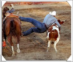 Rodeo; bull dogging