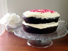 Valentines Day Chocolate Cake with Whipped Cream Cheese Icing