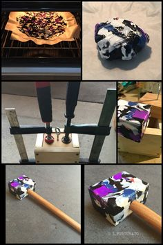 HDPE Mallet that I made from melting number 2 HDPE. I washed and cut up some HDPE 2 bottles then I melted them in the oven on a tray with baking paper. I made a wooden cube mold and then squashed the melted HDPE into it and clamped it down to cool. Best to use leather engineers gloves as the HDPE gets very hot and it's ok to melt as HDPE 2 does not release toxic fumes.