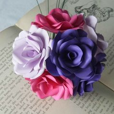 6 x Stunning Mixed Paper Flower Roses Purple Lilac by WearedCrafts