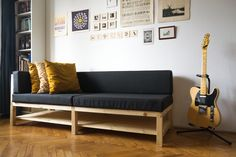 In 2016 I started to design my own couch and with the help of Balázs Botos we finally managed to build it.  It was a quite interesting and refreshing advanture for me as a graphic designer. I have never used any woodworking tools in my life before, so I'm quite happy how it turned out. If I could start over again I definietly avoid pine as much as possible though. . Timelapse video here → https://www.youtube.com/watch?v=0mY4irCOeVU&