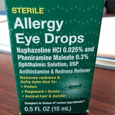 Allergy Eye Drops vs Eye Allergy Drops. Same store same ingredients (identical dosages) one in a blue box one in green. One was $5 the other was $7. Always read the package.