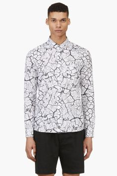 SURFACE TO AIR White Crackled Print Shirt