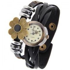 $5.55 Time Z Quartz Watch with Dots Indicate Round Dial Leather Watchband for Women (Black)