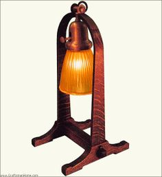 This lamp is a reproduction of Gustav Stickley's Number 501 desk lamp. The design follows the lines of his bent-wood compass logo.