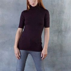 Majestic Turtleneck Soft Touch Elbow Sleeve Top