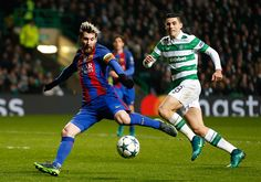 Barcelona's Lionel Messi scores his side opening goal during the UEFA Champions League match at Celtic Park Glasgow