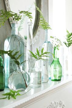 Mixed Vases - 15 Creative Ways To Decorate With Leaves - Photos