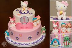 Old school Sanrio cake with Hello Kitty, My Melody, Keroppi, Tuxedo Sam, Little Twin Stars.