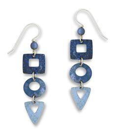 denim blue hand painted earrings