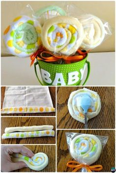 DIY Baby Washcloth Lollipops Gift Bucket-Handmade Baby Shower Gift Ideas Instructions #babyshowergifts