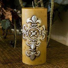 Swarovski Candle Cross and Fleur De Lis Home Decor, Pillar Swarovski Crystal Candle Decor 4x9 by Swarovski, www.amazon.com/...