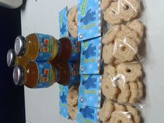 Gerber favors for babies. Bday party. Juices & cookies with personalized labels and tags. Sesame street