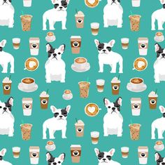 french bulldogs coffee fabric cute frenchie coffee fabric cafe latte fabrics cute frenchie dog fabric fabric by petfriendly on Spoonflower - custom fabric