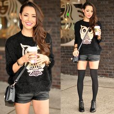 Sheinside Owl Sweater, Daily Look Faux Leather Shorts, Daily Look Leatherette Satchel, Steve Madden Lace Up Shoes