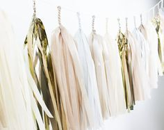 DIY Tissue Tassel Garland Kit Champagne Gold by PaperboyParty