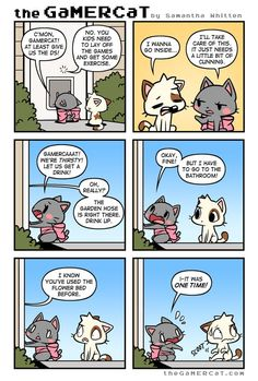 He's a cat. He plays video games. A weekly webcomic about gaming felines and their wacky adventures! Cat Comics, Comics Story, Funny Comics, Funny Animal Memes, Funny Animal Videos, Awkward Zombie, Gamer Cat, Funny Pins, Funny Stuff