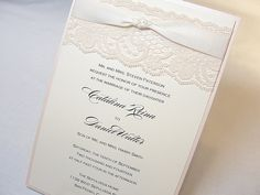 LACEY Lace Wedding Invitation, Invite, Vintage, Shabby Chic, Couture.  Even more beautiful in person!!!! Thanks @lavender Paperie !!!