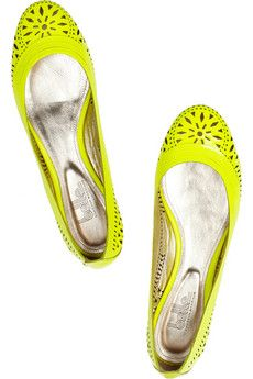 Belle Sigerson Morrison Andromeda laser-cut patent-leather ballet flats. Love the neon yellow!