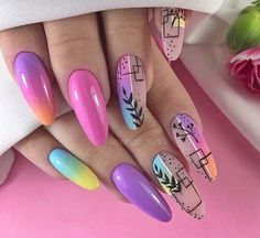 We all love beautiful nail art designs. Ladies, nails are an extension of what they wear, and fresh nail art . Nail Manicure, Diy Nails, Cute Nails, Pretty Nails, Manicure Ideas, Nail Noel, Geometric Nail, Pin On, Bright Nails