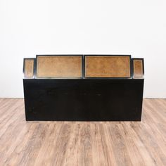 """This """"Century"""" asian inspired queen sized headboard is featured in a solid wood with a glossy burl wood panel and black lacquer trim. This oriental style headboard cabinet is in great condition with 4 drop down doors and interior storage!   #asian #beds #headboard #sandiegovintage #vintagefurniture"""