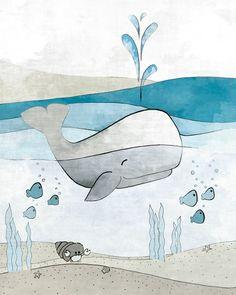 Whale Nursery Decor - Nautical Art Print, Childrens Room Art, Blue Childrens Room and Baby Fish Nautical Drawing, Whale Drawing Kids Room - - Whale Nursery, Animal Nursery, Nursery Art, Nursery Decor, Ocean Nursery, Nursery Drawings, Nursery Design, Room Decor, Nautical Wall Decor