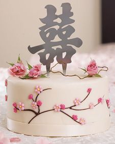 Traditional Script Brushed Silver Asian Double Happiness Cake Top. http://www.bluerainbowdesign.com/WeddingFavorProduct.aspx?ProductID=PR030511174987JA1234567ABCBRD98415=WEDDI=GROUP=WASIA