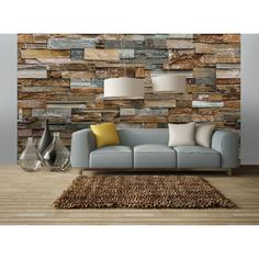 Lend a cozy touch to an industrial decor with the warmly hued Ideal Decor Colorful Stone Wall Mural. Randomly stacked stones in beautiful browns and grays lend depth and visual texture to your home with this eight-panel wall mural. Wall Murals Bedroom, Wall Mural Decals, Wall Stickers, Wall Art, Look Wallpaper, Wall Wallpaper, Stone Wallpaper, Room Decor For Teen Girls, Stone Accent Walls