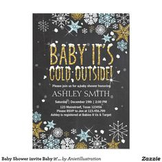 Baby Shower invite Baby it's cold outside Blue