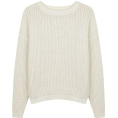 Womens Jumpers DKNYPURE White Open-knit Cotton Jumper ($210) ❤ liked on Polyvore featuring tops, sweaters, jumpers, clothing - long sleeved tops, white long sleeve top, cotton knit sweater, white top, white sweater and white jumper