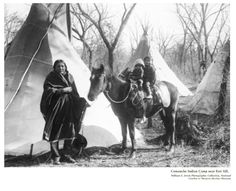 Comanches were called the Lords of the Plains. They owned many horses, making them the richest of the Plains Indians. The Comanches developed a unique breed of horse, a Pinto known as the Medicine Hat or War Bonnet. It was recognized for its fierceness on the battlefield. The tribe owned many of these magnificent animals. A warrior believed he was invincible when he rode the Medicine Hat into battle. All Comanches desired the war horse and considered it sacred. This photo was taken in 1899!