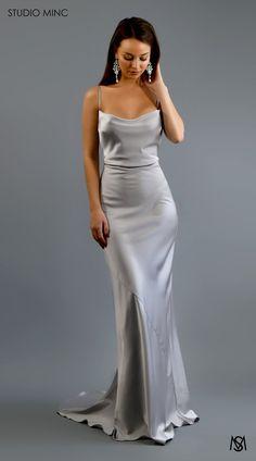 Silver cascade luxe - Another! Silver Bridesmaid Dresses, Bridesmaid Dress Colors, Grad Dresses, Ball Dresses, Satin Dresses, Ball Gowns, Evening Dresses, Wedding Dresses, Satin Dress Prom