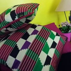 Magical kente print on your cushions!  Each pillow is designed with rich colours and will add a touch of vibrancy to your home. Available now at KATIBIBI Universe.
