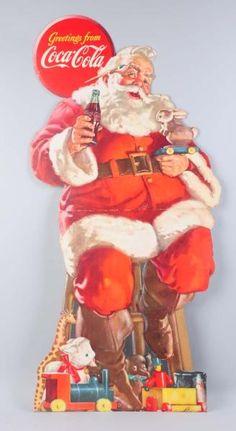 This large cardboard sign depicting Santa has edge bumping and a few minor scrapes. Coke Santa, Coca Cola Santa, Coca Cola Christmas, Coca Cola Ad, World Of Coca Cola, Vintage Christmas Images, Retro Christmas, Christmas Pictures, Christmas Art