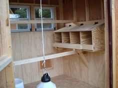 Coop interior showing windows, roosts, and nest boxes.
