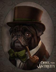 Mr. Copperpot, Black Pug Gentleman Victorian Steampunk Top Hat Pipe Original Illustration Costumed Portrait Poster Print - 4 Sizes Available