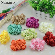 a2ecddf93 Barato 6 pçs lote Mini Peônia Seda Rosa Artificial Buquê De Flores de Seda  Decoração