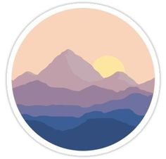 """Chill Mountain Horizon"" Stickers by Brandon Surya Tumblr Stickers, Cool Stickers, Printable Stickers, Laptop Stickers, Preppy Stickers, Homemade Stickers, Record Art, Aesthetic Stickers, Sticker Design"