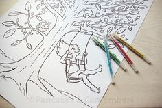 Coloring poster - The swing by Pancakes & Camembert on Etsy.