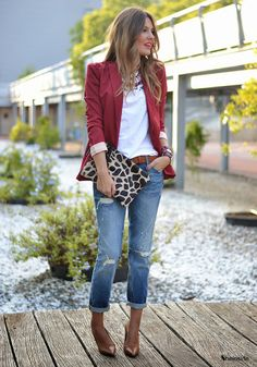 Wine Red Blazer - Women's Fashion Clothing at