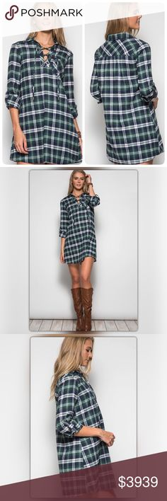 """Green Plaid Print Dress with Lace-Up Front Ships 1/9. Convey effortless style with this green plaid dress! This dress is so versatile, you can pair it with almost anything. It has a roll-up sleeve and a swing fit. It is made of 70% cotton and 30% polyester. The model is 5' 11"""". The NEW Boutique Dresses"""