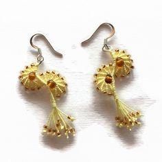 Yellow seahorses earrings dangle earrings by LittleFlowerbyGloria