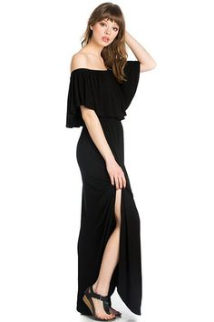 Off the Shoulder Maxi Dress in Black – ROUTE 32
